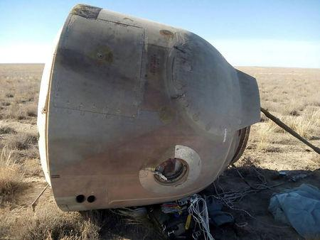 A view shows the Soyuz capsule transporting U.S. astronaut Hague and Russian cosmonaut Ovchinin after it made an emergency landing near Zhezkazgan