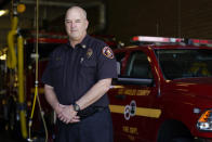 Fire Battalion Chief Dean Douty of Los Angeles County Fire Department - Station 106 poses for a photo at his station Friday, Feb. 26, 2021, in Rancho Palos Verdes, Calif, a suburb of Los Angeles. He was among first responders at the scene of a vehicle crash involving golfer Tiger Woods on Tuesday. (AP Photo/Ashley Landis)
