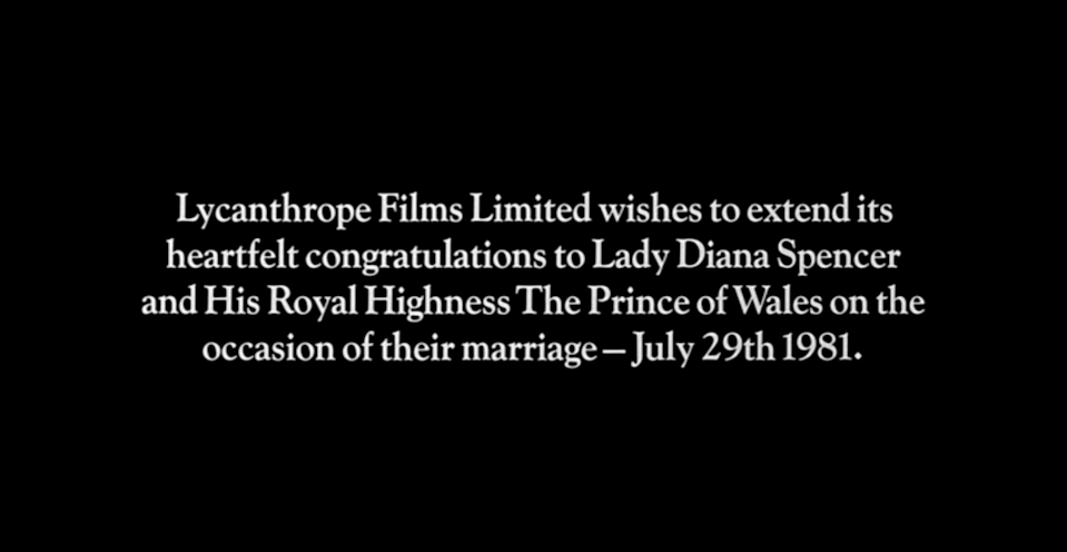 american werewolf end credit page congratulating Prince CHarles and Lady Diana on their wedding