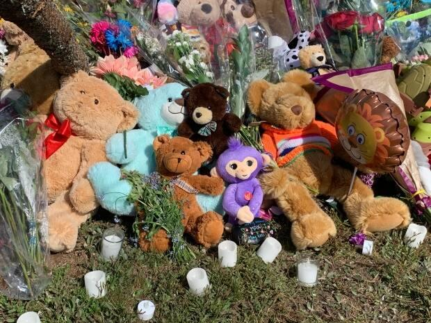 Stuffed animals, flowers and candles have piled up around the floating flagpole memorial at the entrance to Portland Estates.