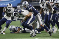Dallas Cowboys outside linebacker Sean Lee (50) tackles Los Angeles Rams quarterback Jared Goff (16) in the second half of an NFL football game in Arlington, Texas, Sunday, Dec. 15, 2019. (AP Photo/Ron Jenkins)