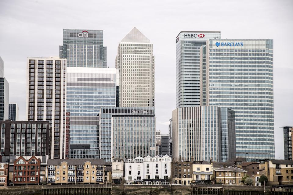 The skyline of Canary Wharf in London as the cold snap continues to grip much of the nation. Picture date: Sunday February 14, 2021. (Photo by Ian West/PA Images via Getty Images)