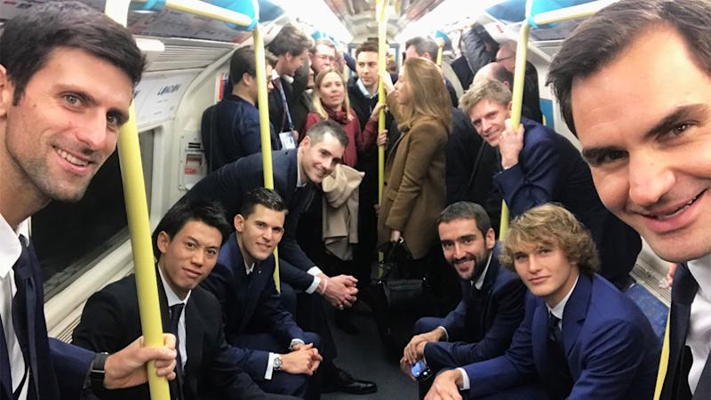 Roger Federer and Novak Djokovic headline the star-studded list of public transport takers. Pic Twitter  Adam HoggMore