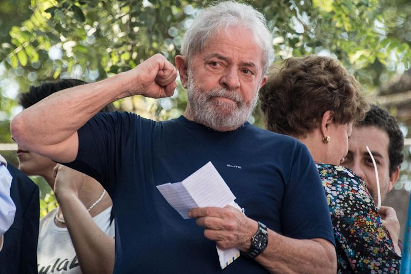 Brazilian ex-president and leftist icon Luiz Inacio Lula da Silva, pictured in 2018, was sentenced to 25 years behind bars in two separate corruption cases