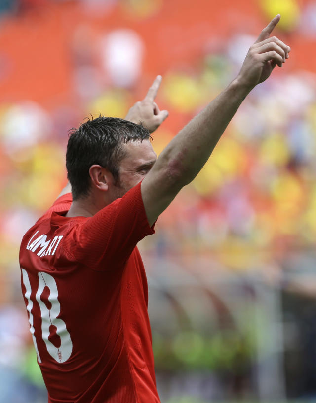 England's Rickie Lambert (18) celebrates his goal against Ecuador in the second half of a friendly soccer match in Miami Gardens, Fla., Wednesday, June 4, 2014. The game ended a 2-2 tie. (AP Photo/Alan Diaz)
