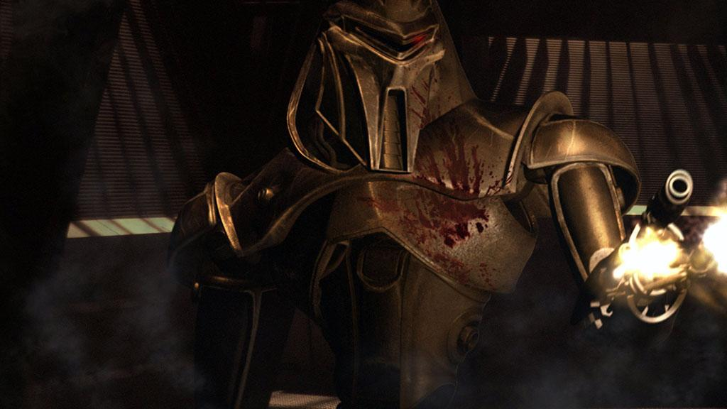 "BATTLESTAR GALACTICA -- SCI FI Channel -- ""Scattered"" and ""Valley of Darkness"" Episode 1 & 2 -- Air Dates 07/15/2005 and 07/22/2005 -- Pictured: Cylon Centurion soilder -- Photo by: SCI FI Channel/NBCUPB"
