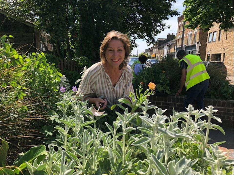 Environment Minister Rebecca Pow at a community planting group in East London (Defra/PA)