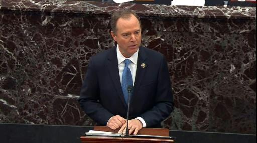 House Impeachment Manager Adam Schiff calls for President Donald Trump's removal on the third day of Trump's trial for abuse of power in the US Senate