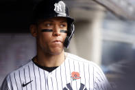 New York Yankees' Aaron Judge looks on from the dugout during the fifth inning of a baseball game against the Tampa Bay Rays on Monday, May 31, 2021, in New York. (AP Photo/Adam Hunger)