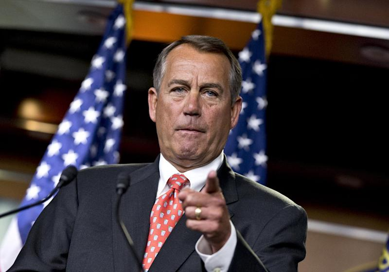 "House Speaker John Boehner of Ohio gestures as he speaks to reporters on Capitol Hill in Washington, Thursday, Nov. 29, 2012, after private talks with Treasury Secretary Timothy Geithner on the fiscal cliff negotiations. Boehner said no substantive progress has been made between the White House and the House"" in the past two weeks.  (AP Photo/J. Scott Applewhite)"