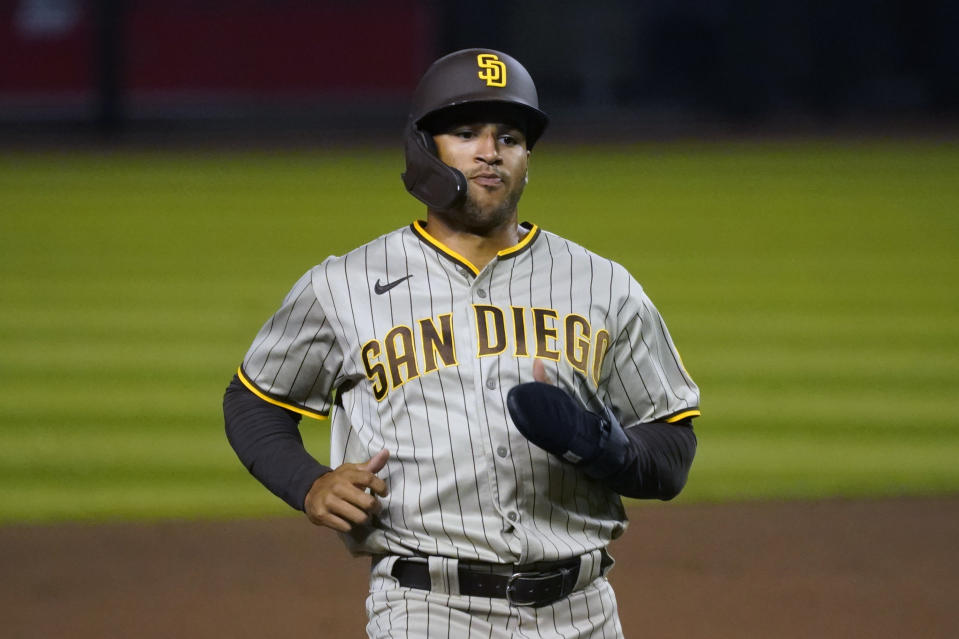 San Diego Padres right fielder Trent Grisham (2) in the first inning during a baseball game against the Arizona Diamondbacks, Friday, Aug 14, 2020, in Phoenix. (AP Photo/Rick Scuteri)