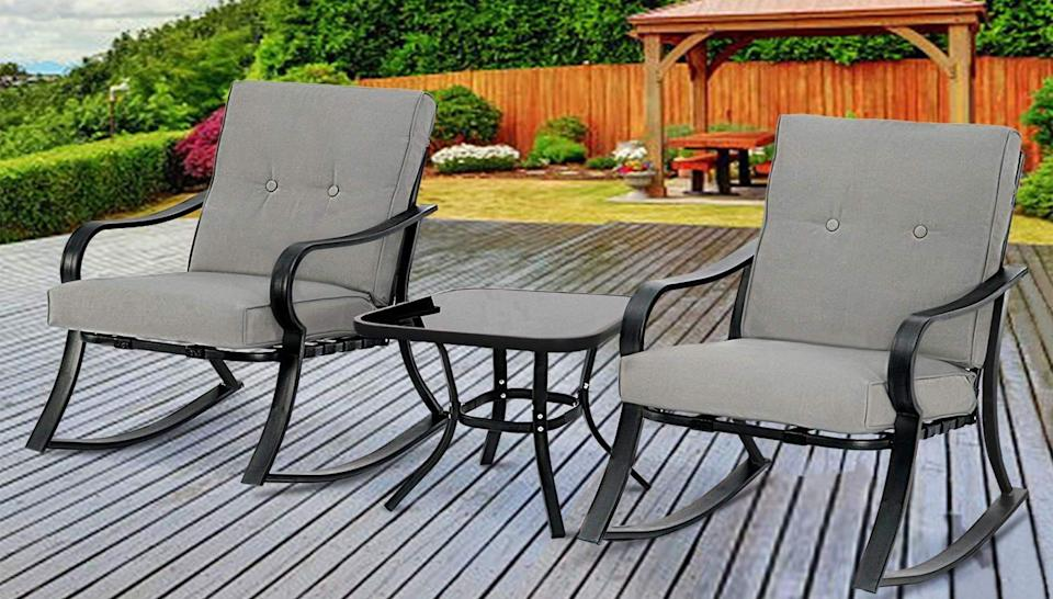 Soak up the rays in this rocking chair set.