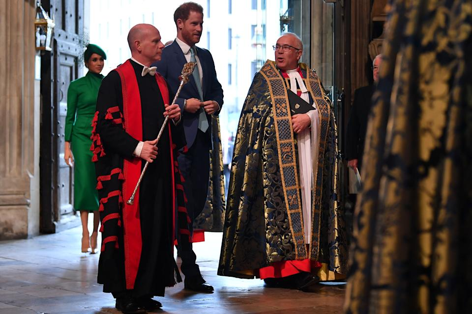 Britain's Prince Harry, Duke of Sussex, (3rd-L) and Meghan, Duchess of Sussex (1st-L) attend the annual Commonwealth Service at Westminster Abbey in London on March 09, 2020. - Britain's Queen Elizabeth II has been the Head of the Commonwealth throughout her reign. Organised by the Royal Commonwealth Society, the Service is the largest annual inter-faith gathering in the United Kingdom. (Photo by Ben STANSALL / POOL / AFP) (Photo by BEN STANSALL/POOL/AFP via Getty Images)