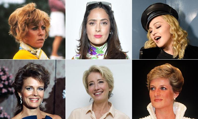 Refuseniks … (clockwise from top left) Jan Stephenson, Salma Hayek, Madonna, Diana, Emma Thompson and Candice Bergen.