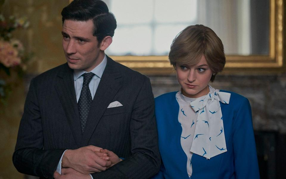 Josh O'Connor as Prince Charles and Emma Corrin as Princess Diana on The Crown - Des Willie