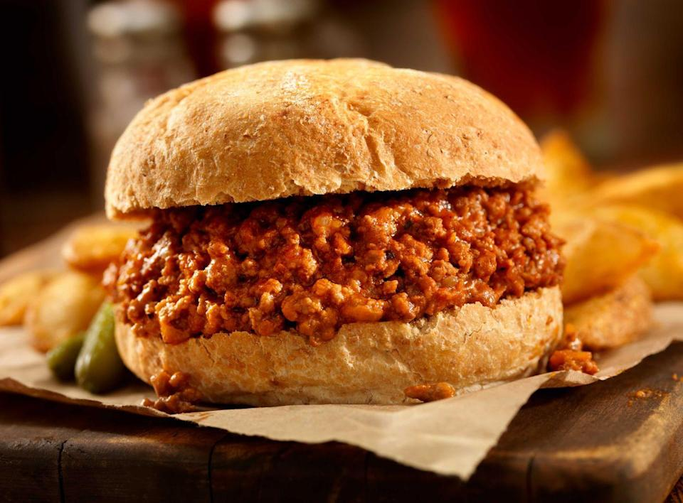 "<p><strong>Sloppy Joe </strong></p><p>Legend has it that in the 1930s in Sioux City, a cafe cook named Joe added tomato sauce to his loose meat sandwiches and the rest is history. Although it's one of the most basic recipes on the list, it's also one of the most satisfying. Be sure to get one at <a href=""https://hudsonstap.com/"" rel=""nofollow noopener"" target=""_blank"" data-ylk=""slk:Hudson's Southside Tap"" class=""link rapid-noclick-resp"">Hudson's Southside Tap</a>. </p>"