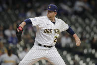 Milwaukee Brewers' Brett Anderson pitches during the first inning of a baseball game against the Pittsburgh Pirates, Saturday, April 17, 2021, in Milwaukee. (AP Photo/Aaron Gash)