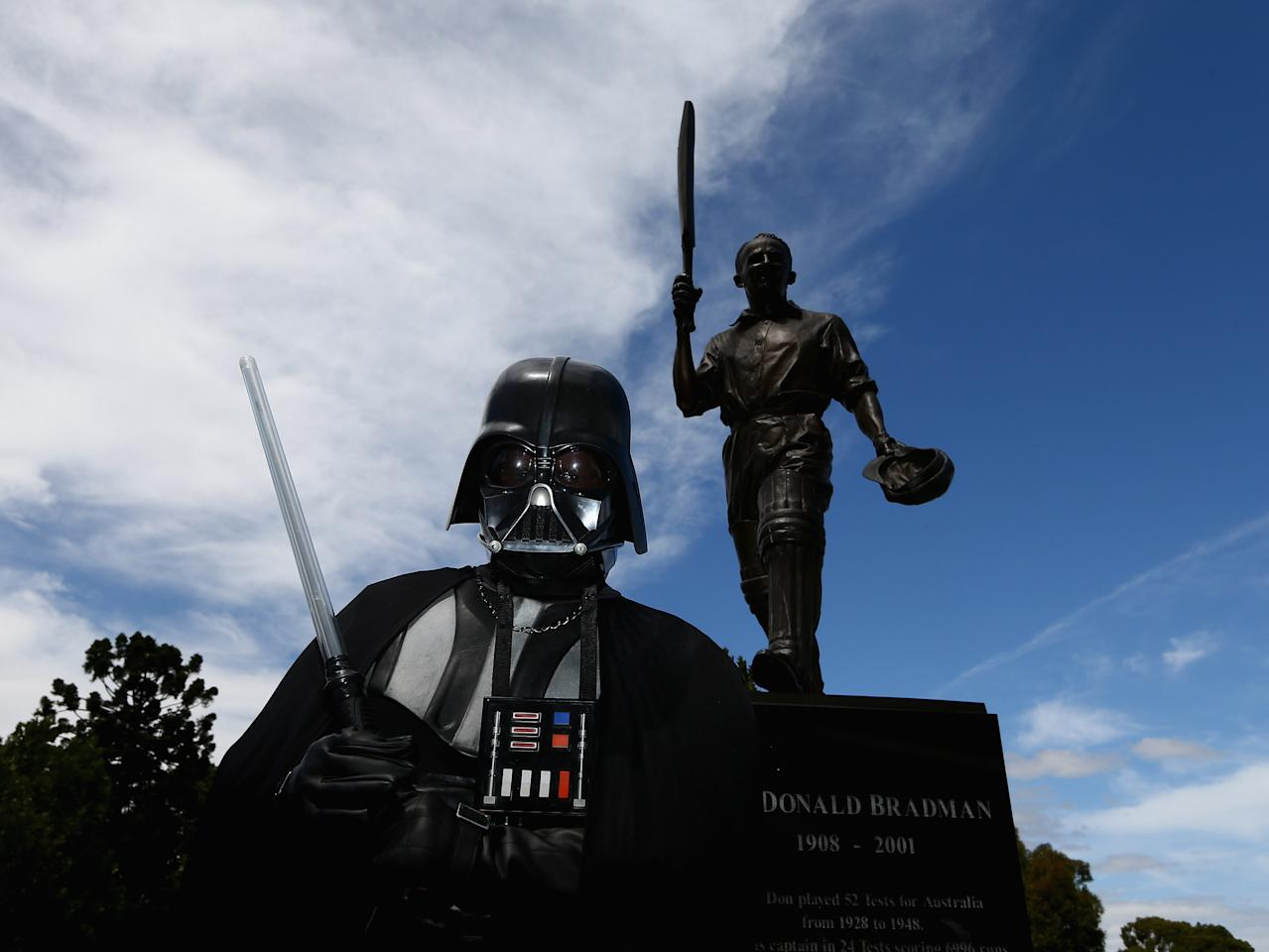 MELBOURNE, AUSTRALIA - FEBRUARY 10: A fan dressed as Darth Vader is seen prior to game five of the Commonwealth Bank International Series between Australia and the West Indies at the Melbourne Cricket Ground on February 10, 2013 in Melbourne, Australia.  (Photo by Robert Cianflone/Getty Images)