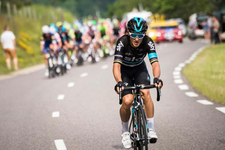 Sky's Polish rider Michal Kwiatkowski rides during the third stage of the 68th edition of the Dauphine Criterium cycling race between Creches-sur-Saone and Chalmazel-Jeansagnières on June 07, 2016 in Chalmazel-Jeansagnière