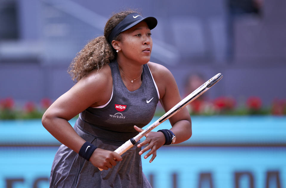 MADRID, SPAIN - APRIL 30: Naomi Osaka of Japan looks on in her first round match against Misaki Doi of Japan on day two of the Mutua Madrid Open tennis tournament at La Caja Magica on April 30, 2021 in Madrid, Spain. (Photo by Mateo Villalba/Quality Sport Images/Getty Images)