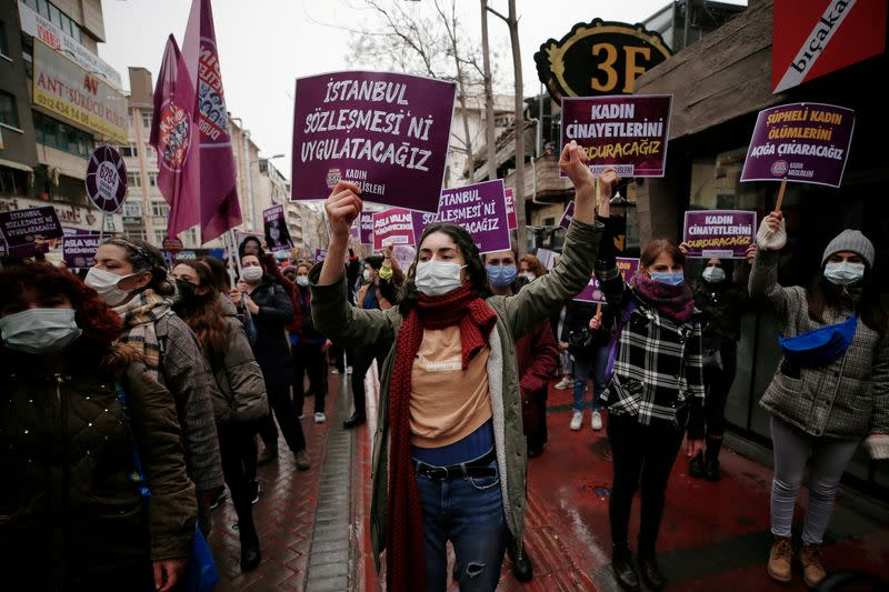 Protest against Turkey's withdrawal from Istanbul Convention in Ankara