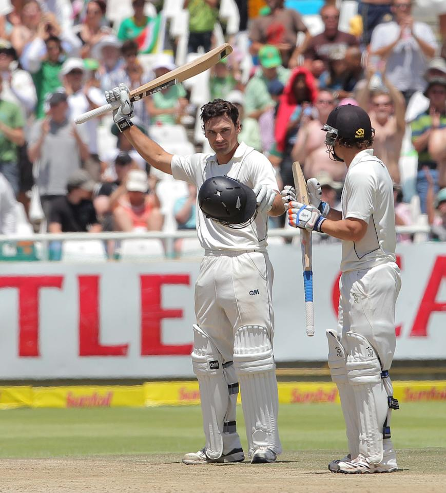 CAPE TOWN, SOUTH AFRICA - JANUARY 04:  Dean Brownlie of New Zealand celebrates his century during day 3 of the 1st Test between South Africa and New Zealand at Sahara Park Newlands on January 04, 2013 in Cape Town, South Africa.  (Photo by Carl Fourie/Gallo Images/Getty Images)