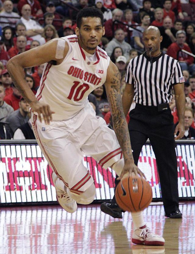 Ohio State's LaQuinton Ross drives the lane against North Florida during the second half of an NCAA college basketball game on Friday, Nov. 29, 2013, in Columbus, Ohio. Ohio State won 99-64. (AP Photo/Jay LaPrete)
