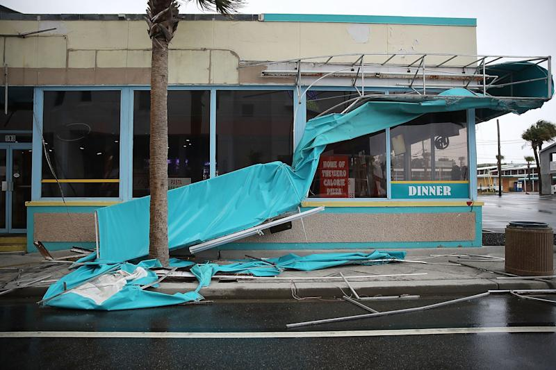 Winds from Hurricane Florence damaged an awning in Myrtle Beach on Friday.