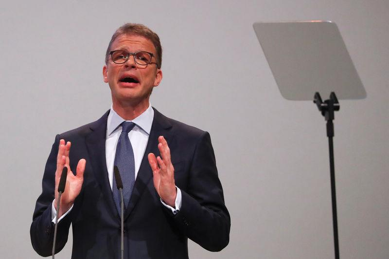 CEO Sewing attends the annual shareholder meeting of Deutsche Bank in Frankfurt