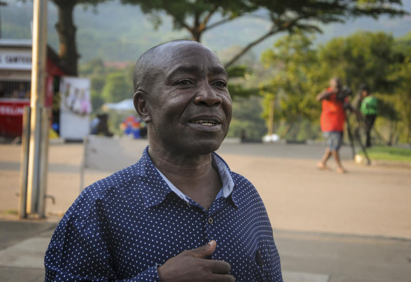 In this photo taken Thursday, June 13, 2019, Pedson Buthalha, the administrator of the hospital where the first cross-border Ebola victim was isolated, speaks to The Associated Press in the town of Bwera, near the border with Congo, in western Uganda. Medical workers leading Uganda's effort against the Ebola outbreak are already alleging limited support from the government in the days since the country's first cases of the deadly virus were confirmed. (AP Photo/Ronald Kabuubi)