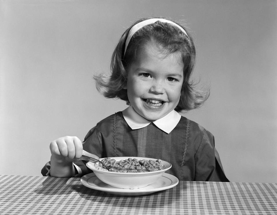 <p> Cereal was breakfast. It came in multiple forms of wheat, corn, or oats. Some cereal was pre-sugared, like Trix and Cap'n Crunch. Others, like unsweetened corn flakes, needed vast amounts of spooned sugar to taste good. The sugar bowl sat on the table and you could probably spoon in four tablespoons before Mom warned you about getting a bellyache. </p>