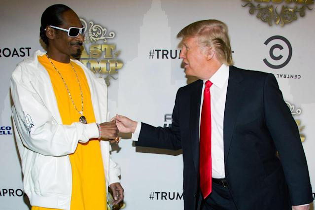 <p>Snoop Dogg and Trump arrive for Comedy Central's roast of Donald Trump, in New York on March 9, 2011. <i>(Photo: Charles Sykes/AP)</i> </p>