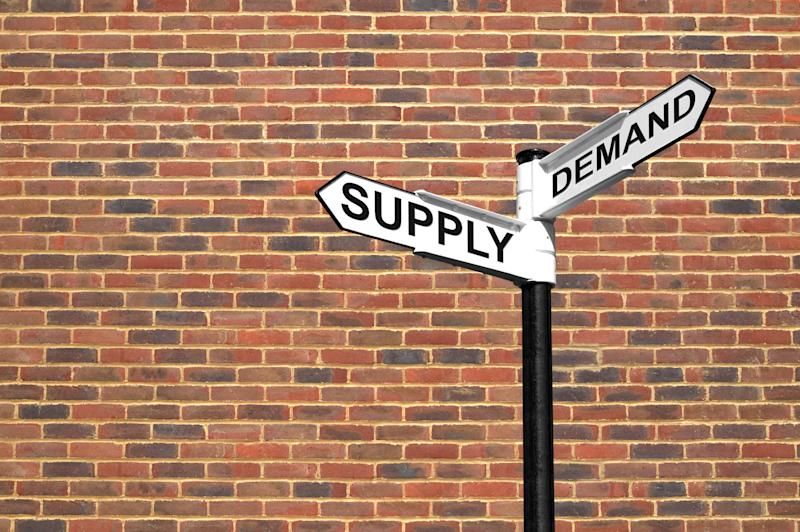 A street sign, against a brick backdrop, at the intersection of Supply and Demand Street.