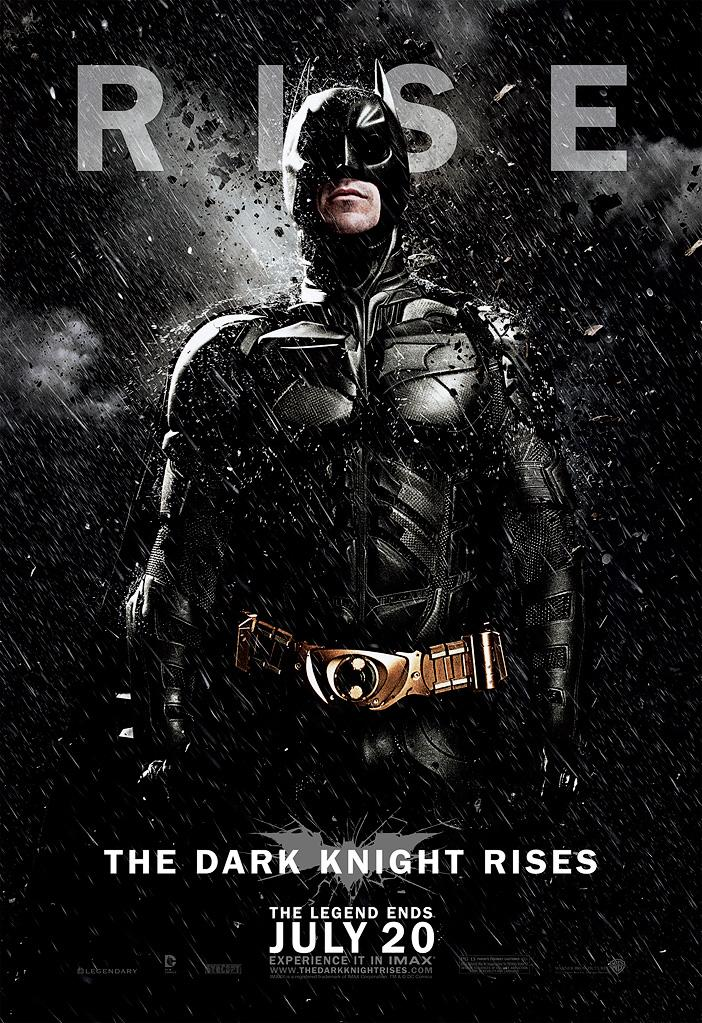 "Christian Bale stands tall as Batman in the third exclusive banner. Bale has gone on record as saying this will be his final outing as the Caped Crusader, which has led some to wonder if Bruce Wayne will survive his ultimate battle. The tagline on the poster -- ""The Legend Ends"" -- seems pretty definitive that this chapter will be the last, but in the image Batman sure looks like he isn't leaving without a fight."