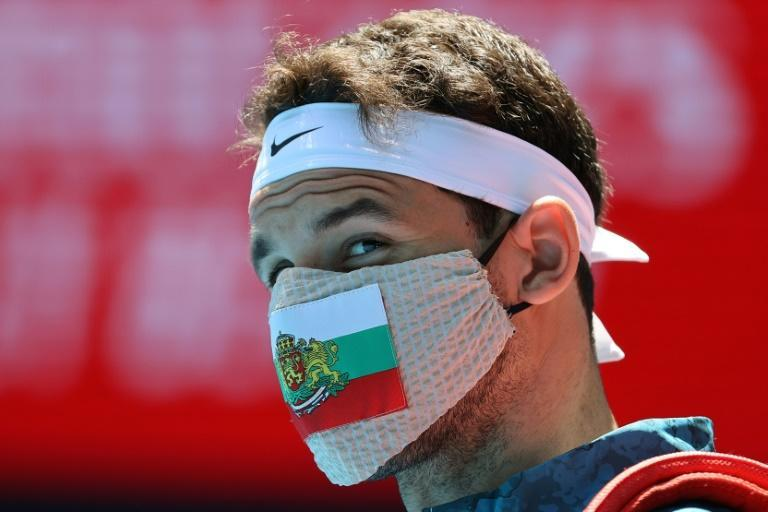 Grigor Dimitrov wore a Bulgaria facemask before his match on Friday