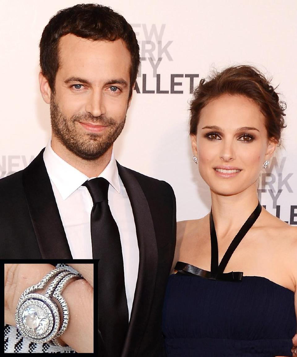 <p>Benjamin Millepied proposed to Natalie Portman in 2010 with Jamie Wolf-designed ring. The ring was crafted from recycled platinum and conflict-free diamonds. The couple married in 2012.</p>