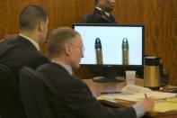 A bullet recovered from a .22 caliber gun on Landry Avenue (L) is compared against one recovered from the home of Aaron Hernandez (R) on the monitor during the murder trial of former NFL player Aaron Hernandez at the Bristol County Superior Court in Fall River, Massachusetts, February 23, 2015. Hernandez is charged with the 2013 murder of Odin Lloyd, 27, a semiprofessional football player who had been dating the sister of Hernandez's fiancee. REUTERS/Dominick Reuter/Pool (UNITED STATES)