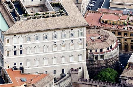 An exterior view of the tower of the Institute for Works of Religion in Vatican City