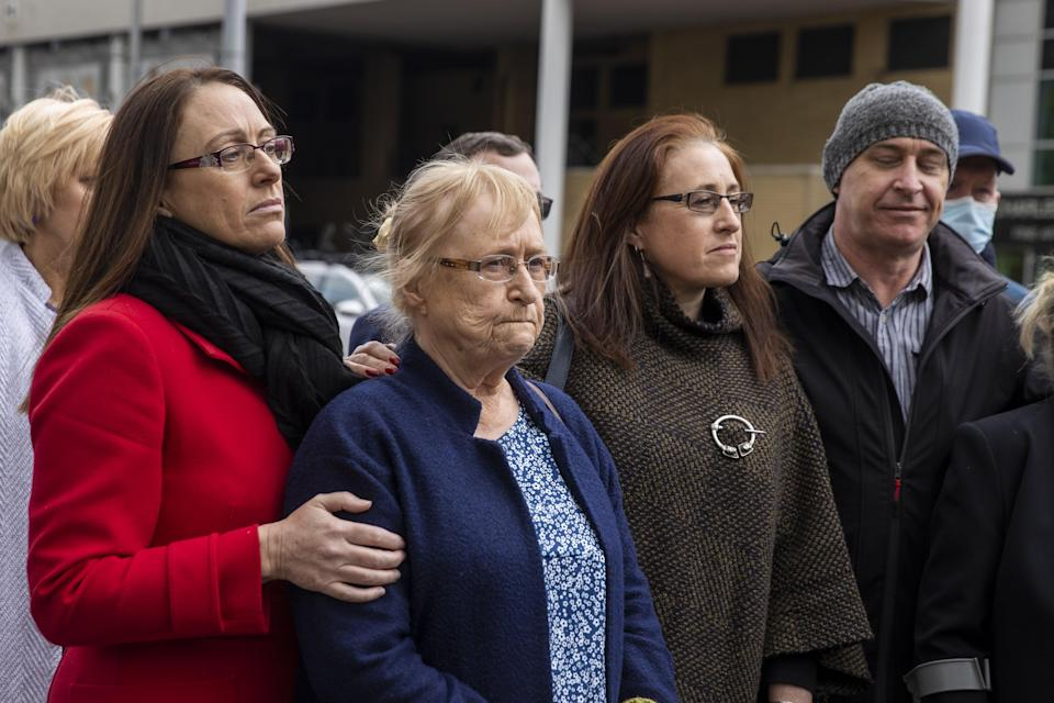 Joe McCann's family, (left to right) daughter Maura, widow Anne, daughter Aine, and son Fergal, during a press conference outside Laganside Court in Belfast (PA Wire)