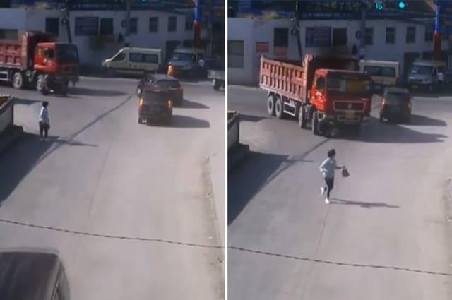 Truck knocks over scooter riders and drags them 10 metres along road in China