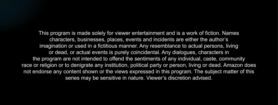 The Disclaimer note before <i>Mirzapur. </i>