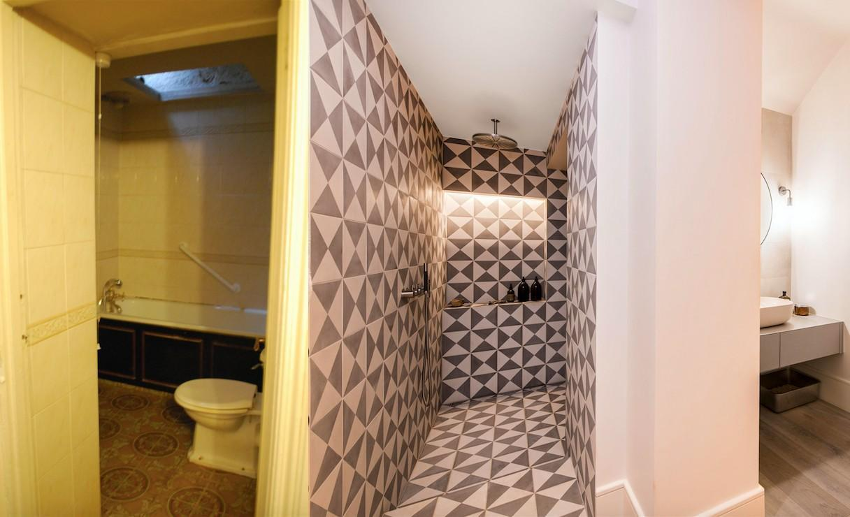The bathroom before and after the renovations. (Supplied)
