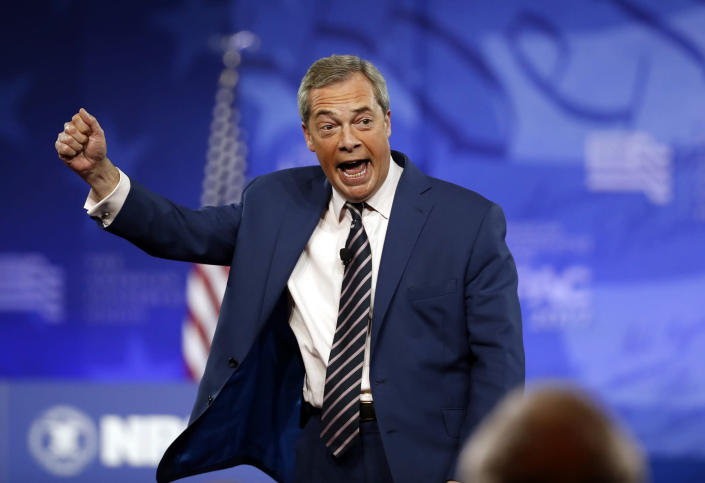 Nigel Farage, former leader of the United Kingdom Independence Party, addresses CPAC on Feb. 24, 2017, in Oxon Hill, Md. (Photo: Alex Brandon/AP)