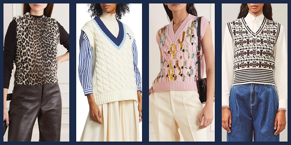 """<p>If the words """"sweater vest"""" conjure up images of movie nerds and unfortunate school uniforms, it's time to think again. Maybe it's the resurgence of <a href=""""https://www.townandcountrymag.com/style/fashion-trends/a32434902/j-crew-bankrupty-catalog-nostalgia/"""" rel=""""nofollow noopener"""" target=""""_blank"""" data-ylk=""""slk:90s preppy fashion"""" class=""""link rapid-noclick-resp"""">90s preppy fashion</a>, or maybe its an irrepressible urge for coziness, but whatever the reason, there's no denying that sleeveless knits were a major trend from the Fall/Winter 2020 collections. As the weather turns cooler and we all start to <a href=""""https://www.townandcountrymag.com/style/fashion-trends/g28689803/cute-thanksgiving-sweaters/"""" rel=""""nofollow noopener"""" target=""""_blank"""" data-ylk=""""slk:plan our seasonal outfits"""" class=""""link rapid-noclick-resp"""">plan our seasonal outfits</a>, there's no better time to get in on the season's comfiest trend. </p><p>Below, we've rounded up some of our favorite sweater vest styles to bring a touch of nerdy-chic to all of your looks. </p>"""