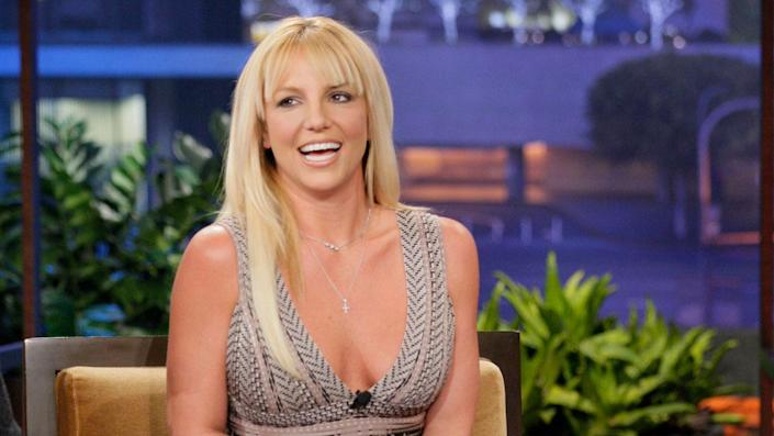 """Britney Spears during an interview with host Jay Leno on October 29, 2012. <span class=""""copyright"""">Photo by: Paul Drinkwater/NBCU Photo Bank/NBCUniversal via Getty Images via Getty Images</span>"""