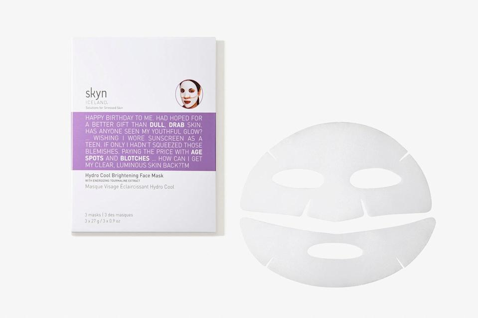 """Inspired by the natural resources of Iceland, Skyn's products are 100 percent vegan and the packaging is easy to recycle. There are a ton of moisturizers and serums to choose from, but this cooling sheet mask is the next best thing to a jet lag cure, and uses licorice and vitamin C to revive skin and reduce signs of aging or excessive red-eyes—making it the ultimate essential for post-trip pampering. $14, Skyn Iceland. <a href=""""https://www.skyniceland.com/collections/masks-patches/products/hydro-cool-brightening-face-mask-1"""" rel=""""nofollow noopener"""" target=""""_blank"""" data-ylk=""""slk:Get it now!"""" class=""""link rapid-noclick-resp"""">Get it now!</a>"""