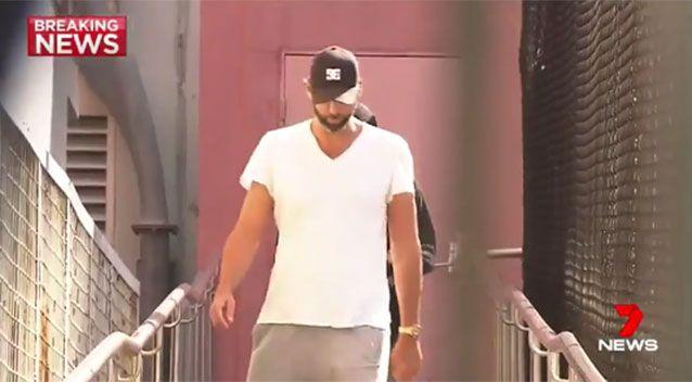 Grant Hackett leaving a Gold Coast police station earlier this year. Picture: 7 News