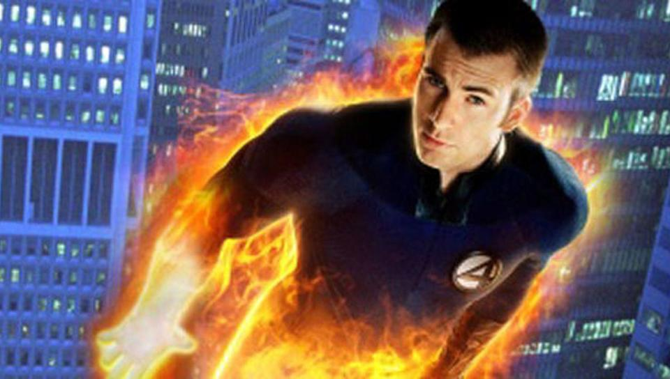 Johnny Storm (Chris Evans) half on fire, a potential part of the MCU's multiverse