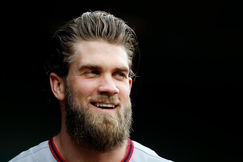BALTIMORE, MD - MAY 9: Bryce Harper #34 of the Washington Nationals looks on from the dug out prior to a game against the Baltimore Orioles at Oriole Park at Camden Yards on May 9, 2017 in Baltimore, Maryland. (Photo by Matthew Hazlett/Getty Images)