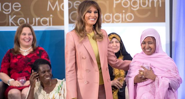 First lady Melania Trump gave a speech on women and courage. (Photo: Saul Loeb/AFP/Getty Images)